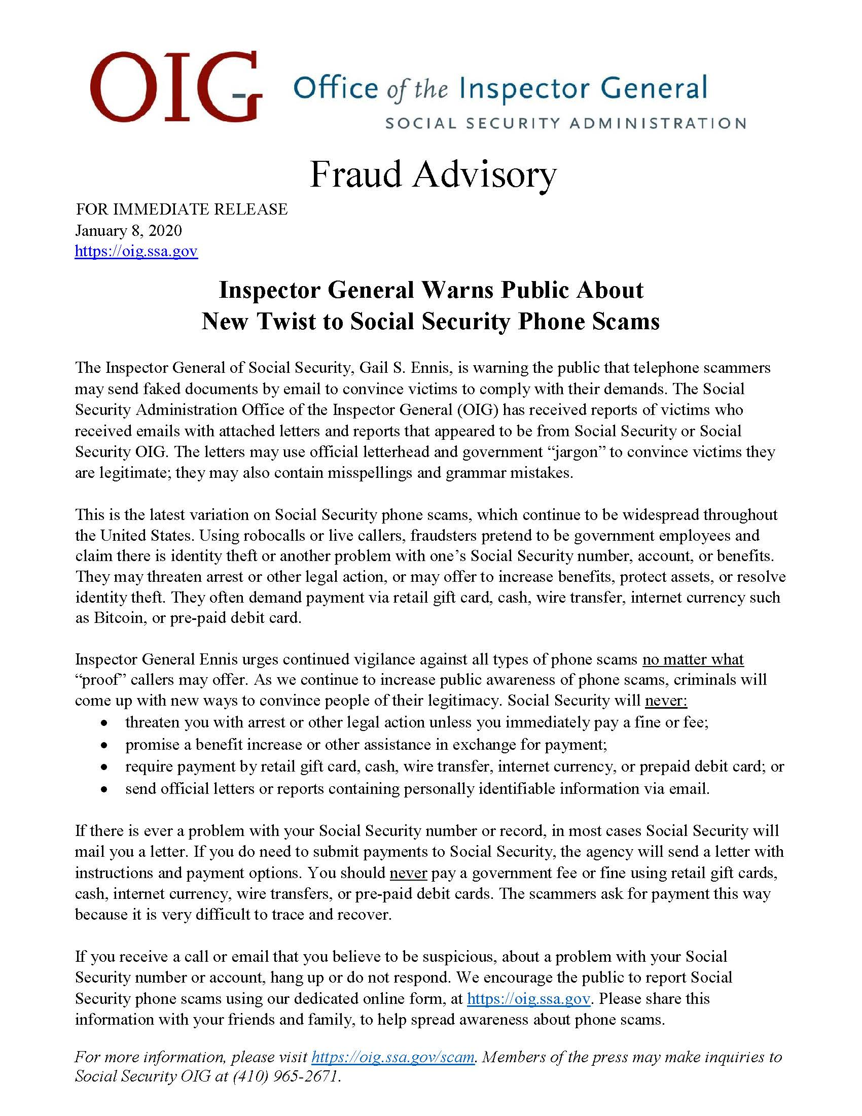 Fraud Advisory Office Of The Inspector General Area 10 Agency On Aging